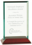 Jade Rectangle Glass with Rosewood Piano Finish Base  Employee Awards