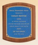 American Walnut Plaque with Linen Textured Plate Golf Awards